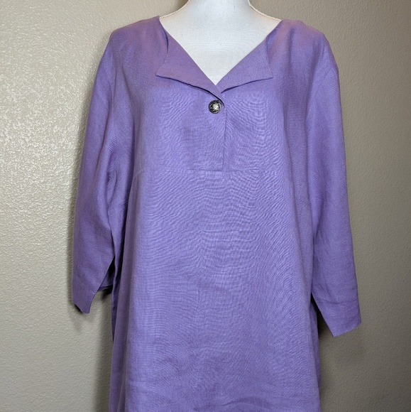 Coldwater Creek Tops - Coldwater Creek Tunic Top 100% Linen Lilac